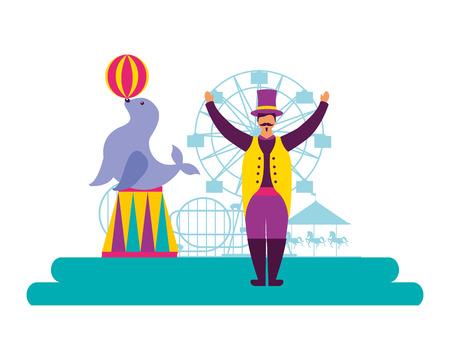 tamer and seal animal circus fun fair vector illustration