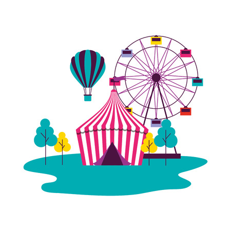 tent ferris wheel and hot air balloon circus fun fair vector illustration 스톡 콘텐츠 - 127733017