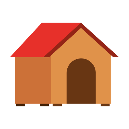 wooden house pet on white background vector illustration Ilustrace