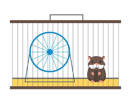 Zoohandlung Hamster auf Käfig mit Radvektorillustration
