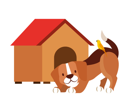 dog and wooden house pet shop vector illustration Stock Vector - 111857753