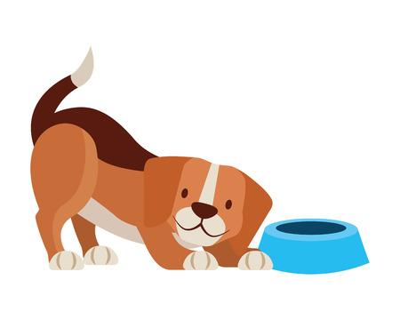 dog beagle and food bowl pet vector illustration