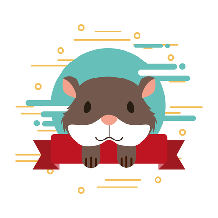 hamster pet shop ribbon emblem vector illustration Ilustracja