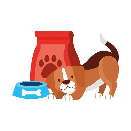beagle dog and food bag bone pet shop vector illustration Illustration