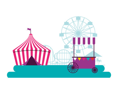 tent and booth circus fun fair vector illustration