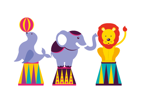 seal elephant and lion show circus fun fair vector illustration