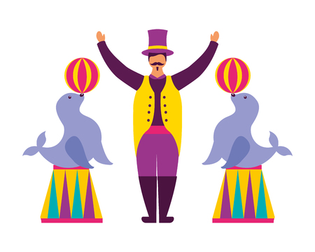 tamer and seals with balls circus fun fair vector illustration Illustration