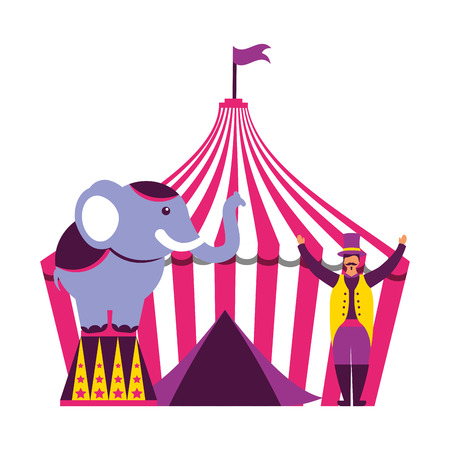 tamer and elephant tent circus fun fair vector illustration