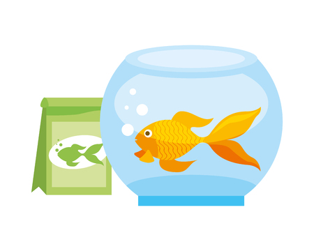 goldfish bowl food bag pet shop vector illustration Иллюстрация