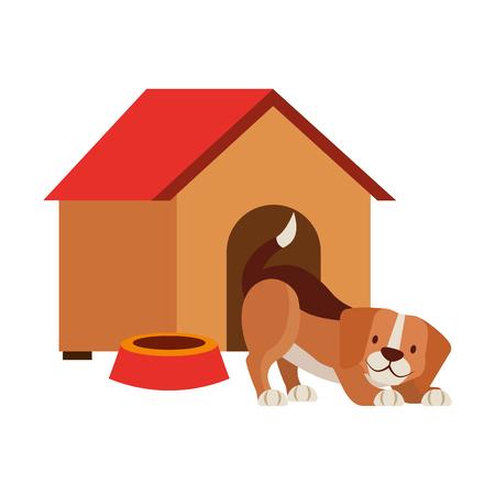 dog house and bowl pet shop vector illustration Illustration