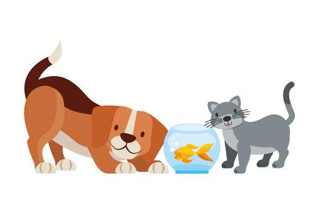 dog goldfish and cat animals pet shop vector illustration