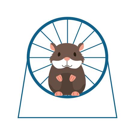 Hamster auf dem Rad, der Tierhandlung-Vektorillustration spielt