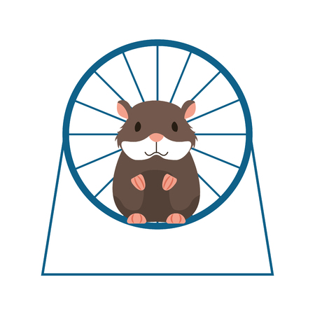 hamster on wheel playing pet shop vector illustration Stock Illustratie