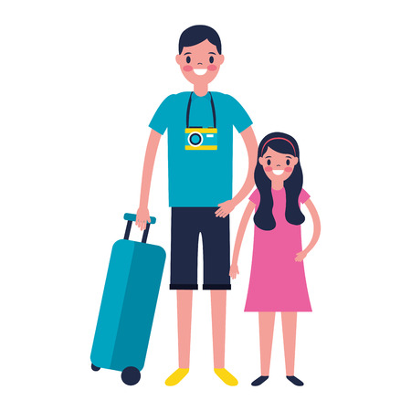 man and girl suitcase travel vacations vector illustration Ilustração