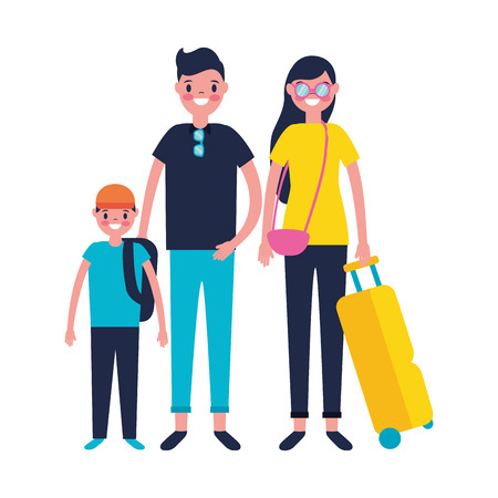family parents and son suitcase vacations travel vector illustration