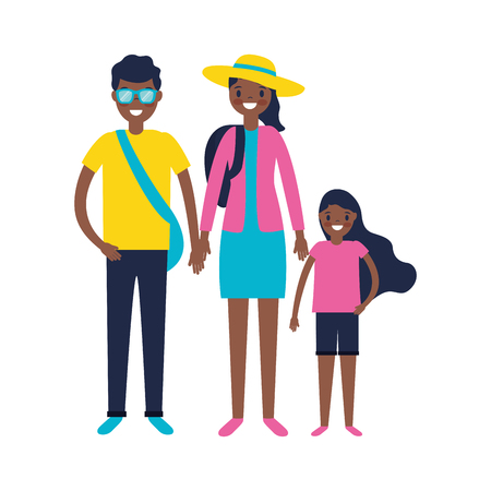family parents and daughter vacations travel vector illustration Illustration