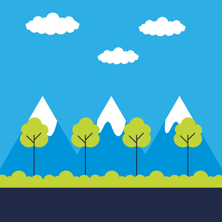 landscape nature trees mountains sky vector illustration