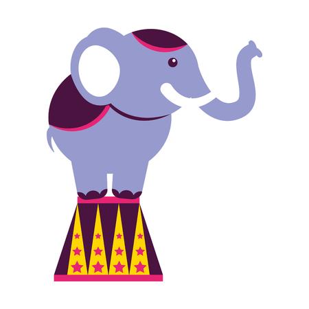 elephant on stand circus fun fair vector illustration