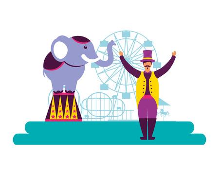 man and elephant circus fun fair ferris wheel vector illustration Иллюстрация