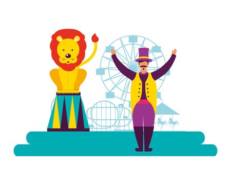 tamer and lion show circus fun fair vector illustration
