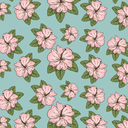 natural flowers plants with leaves background vector illustration