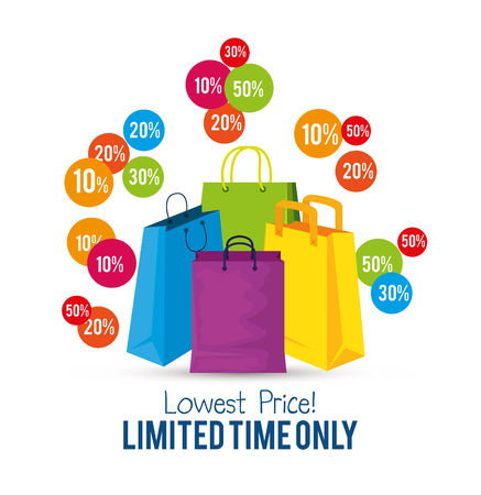 store sale bags to special online offer vector illustration