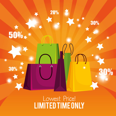 store sale bags to special online promotion vector illustration
