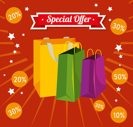 store sale bags to special promotion vector illustration