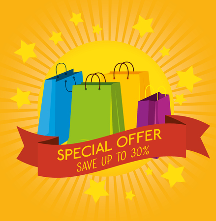 store sale bags to special promo vector illustration Illustration