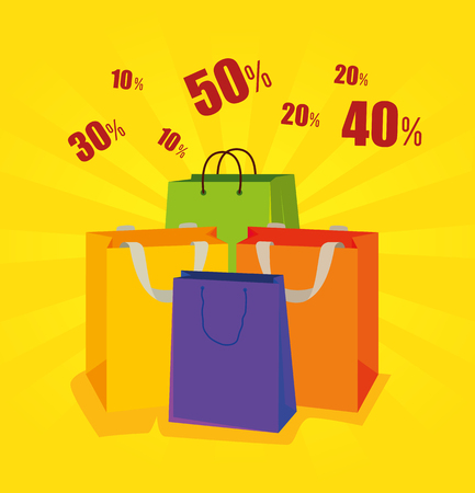 sale bags to special online promotion vector illustration