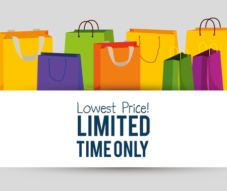 sale bags to special online promo vector illustration