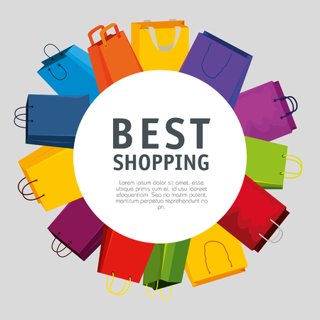 sale bags to super online promo vector illustration