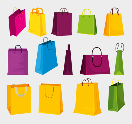 set fashion sale bags to shopping in the market vector illustration Illustration