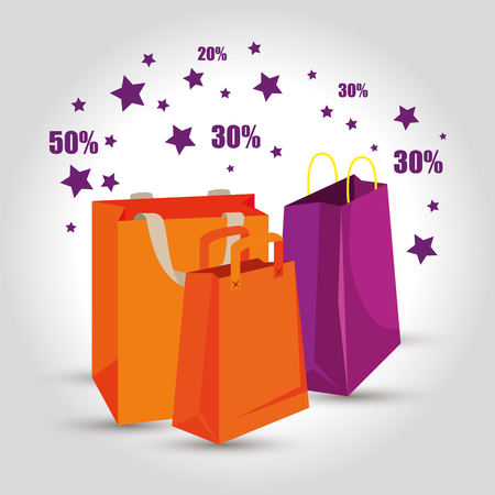 market sale bags to special offer vector illustration