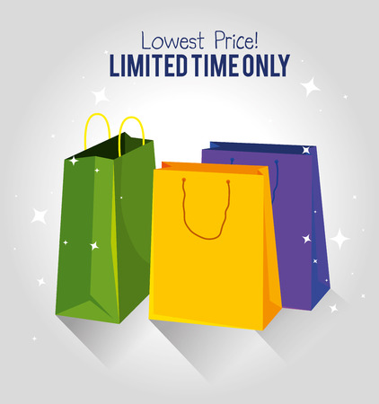 market sale bags to special price vector illustration