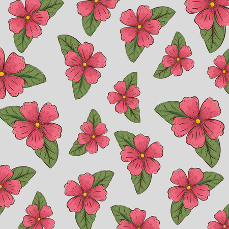 nature flowers plants with leaves background vector illustration