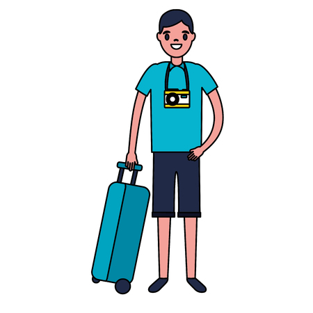 tourist man with travel suitcase vacations vector illustration