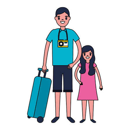 man and girl suitcase travel vacations vector illustration  イラスト・ベクター素材