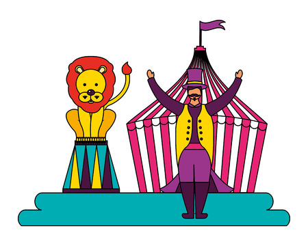 man and lion show circus fun fair vector illustration Illustration