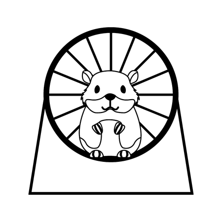 chomik na kole grającym ilustracji wektorowych w sklepie zoologicznym