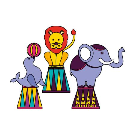seal elephant and lion show circus fun fair vector illustration