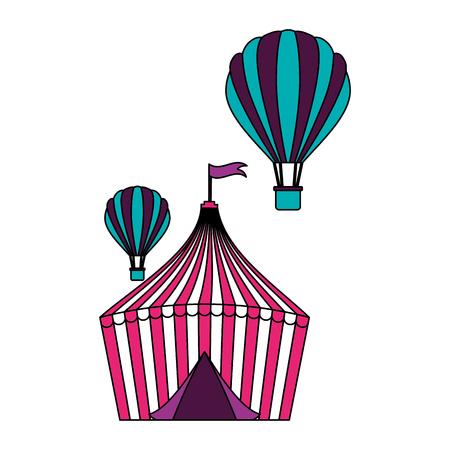 tent and hot air balloons circus fun fair vector illustration