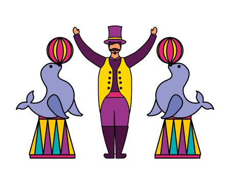 tamer and seals with balls circus fun fair vector illustration Illustration