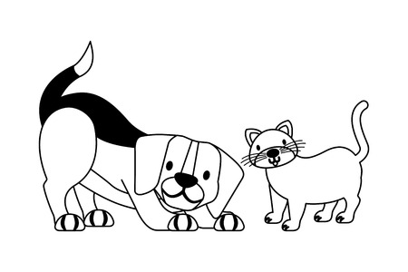 beagle dog and cat pet shop vector illustration