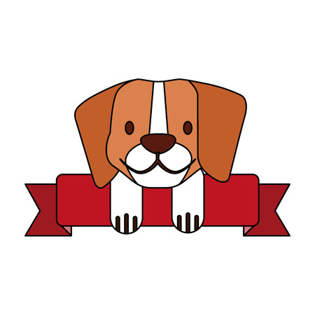 beagle dog pet shop ribbon emblem vector illustration Illustration