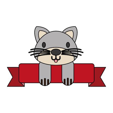 cat pet shop ribbon emblem vector illustration