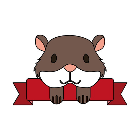 hamster pet shop ribbon emblem vector illustration Illustration