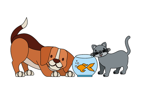 dog goldfish and cat animals pet shop vector illustration