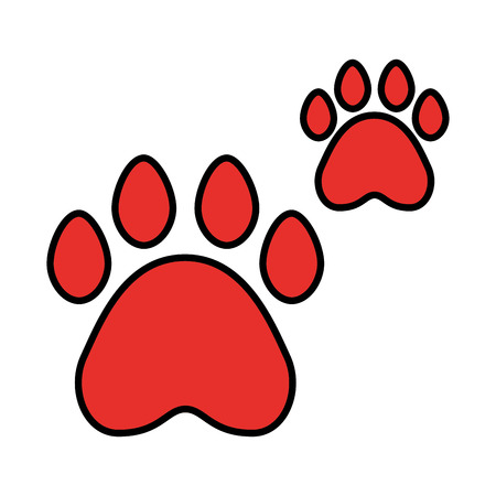 red paws pet on white background vector illustration