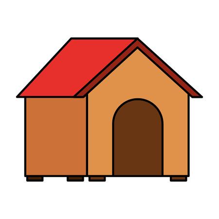 wooden house pet on white background vector illustration 向量圖像